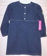 NWT Just Friends Girl's Plain LS Denim A-Line Dress, Small (4) - $9.99
