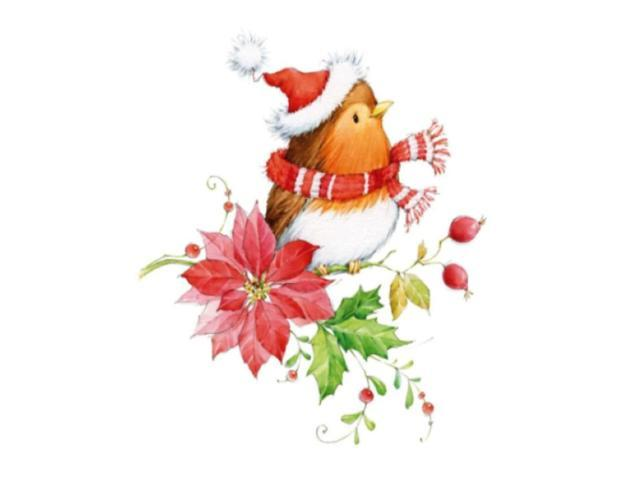 Clear Christmas Stamp-Bird Wearing Hat on a Flower Branch