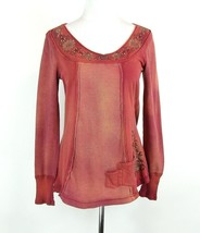 ONE WORLD Size M Soft Waffle Knit Embellished Tee Knit Top - $19.99