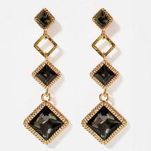 SE50 Women Diamond Shape Drop Earrings Made with Swarovski Crystal  Silver 925 image 1