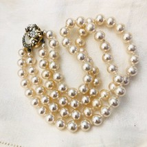 Vintage Haskell-esque Hand Knotted Pearl Bead Necklace 2 Strand Floral C... - $125.00