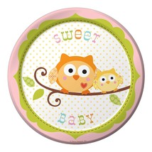 8-Count Round Paper Dessert Plates, Happi Tree Sweet Baby Girl - £5.73 GBP