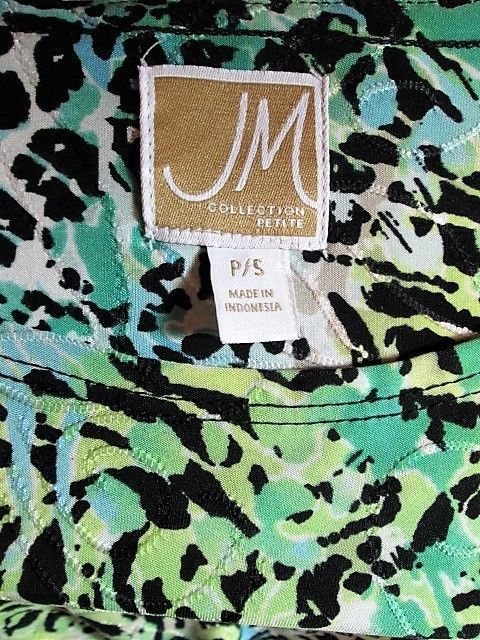 JM COLLECTION  WOMENS  P/S SHORT SLEEVE BLACK BLUE STRETCH TOP BLOUSE (J)M
