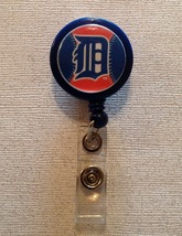 Mlb Detroit Tigers Badge Reel Id Holder blue orange alligator clip handm... - $6.95