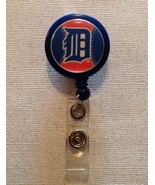 Mlb Detroit Tigers Badge Reel Id Holder blue orange alligator clip handm... - $6.95