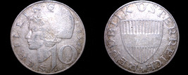 1958 Austrian 10 Schilling Silver World Coin - Austria - $14.99