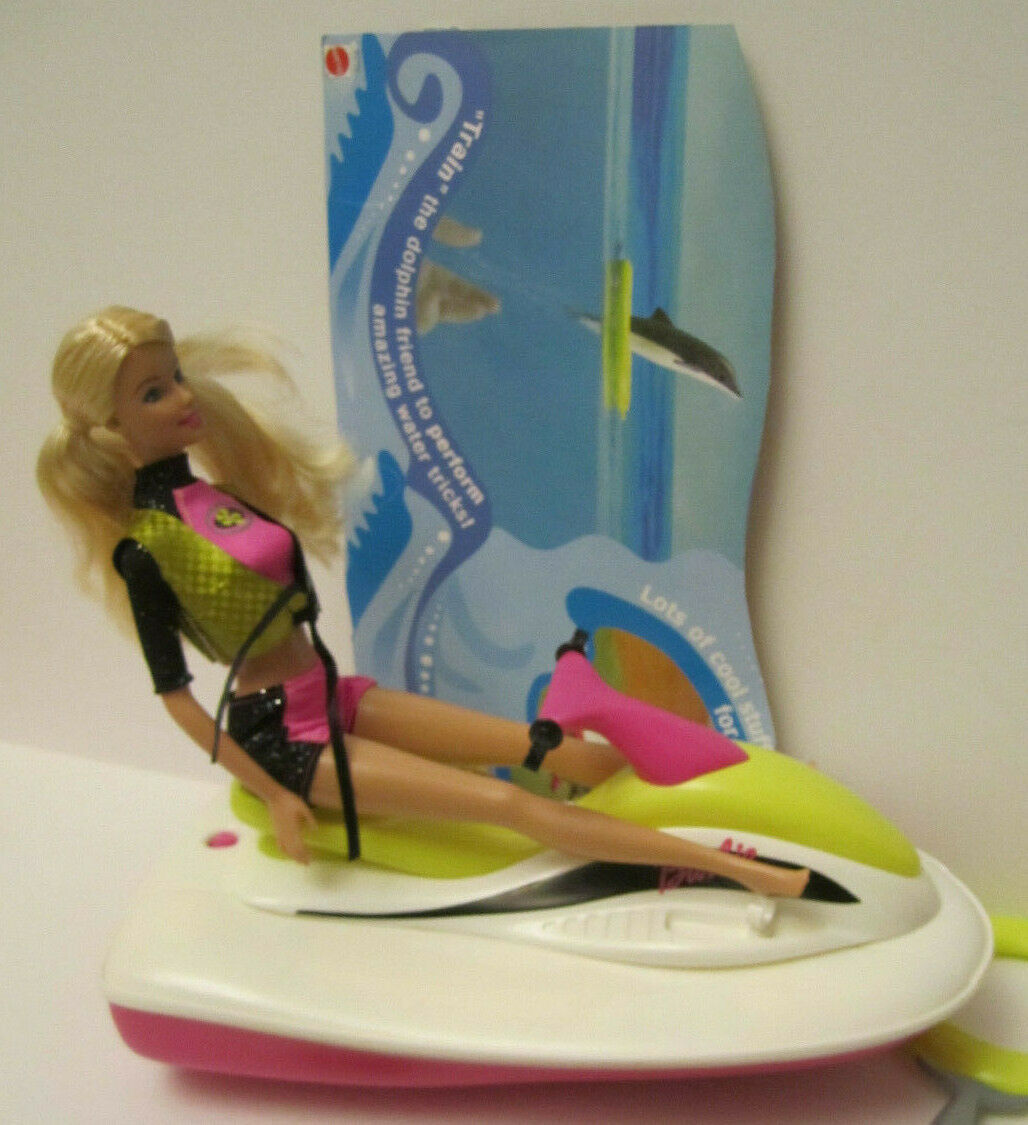 MINT Deboxed Partial 2003 Barbie Sea Splashin' Set Doll with Jetski & Dolphin
