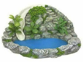 Miniature Pond with with Rock Wall and Waterslide, Fairy Garden Water Fe... - $32.99