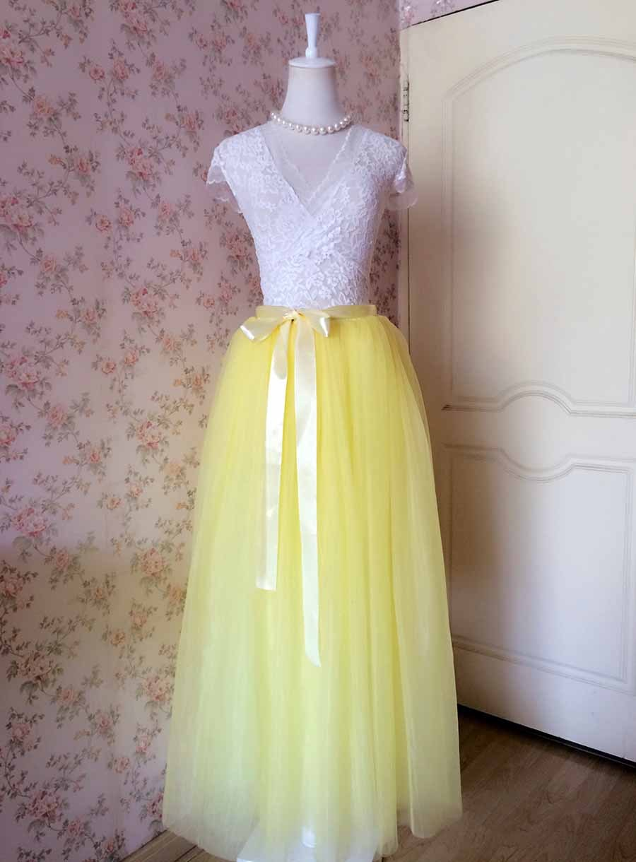 Yellow Floor Length Tulle Skirt Long Tulle Tutu Wedding Outfit