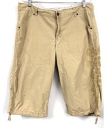 Lee Lower on the Waist Embroidered Tan Capri Cropped Pants Shorts  Size ... - $17.10