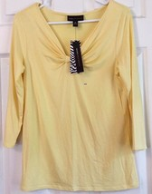 Dana Buchman Knit Top Yellow Gathered Bow Front V Neck 18 In Sleeve Size... - $20.74