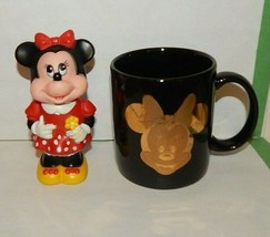 1986 Tootsietoy Walt Disney MINNIE MOUSE Bubble Bottle & Ceramic Mug Black Gold  - $15.79