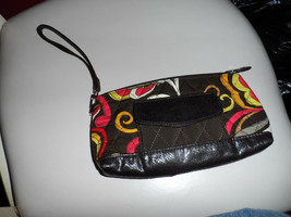 Vera Bradley wristlet in Puccini and brown microfiber pattern - $16.50