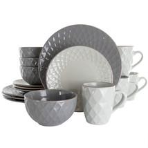 Elama Tahitian Diamond 16 Piece Stoneware Dinnerware Set in Slate and Pearl - $66.43