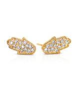 Gold Filled 14k Hamsa Stud Earrings Zirconia WarrentyGood Luck Protectio... - $28.03
