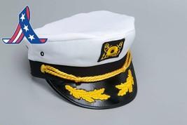Sailor Ship Yacht Boat Captain Hat Navy Marines Admiral White Gold Cap 2... - €7,87 EUR+