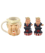 Donald Trump Ceramic Kitchen Set, President Coffee Mug and Spices Shaker... - $34.99
