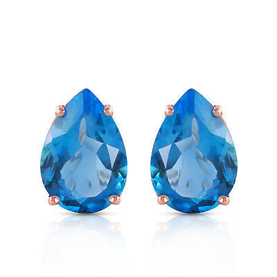 Primary image for 10 Carat 14K Solid Rose Gold pearll Shape Blue Topaz Earrings
