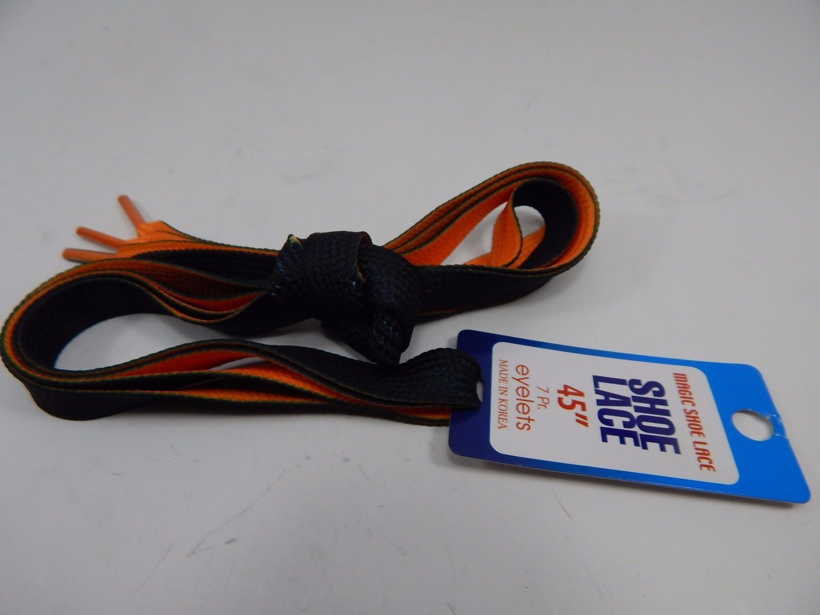 "Black & Orange Two-Tone Thick Fat Skater Shoe Shoe Laces 45"" in Inches"
