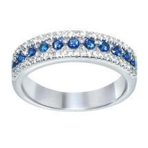 0.50ct Blue And White Diamonds 925 Sterling Silver Anniversary Band For ... - $121.76