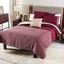 Dark Red Embroidered Reversible Comforter Full Size Soft and Warm 4PCS - $160.38