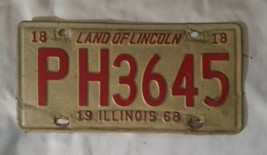OLD 1968 ILLINOIS STATE LICENSE PLATE CAR AUTOMOBILE TAG IL YEAR 68