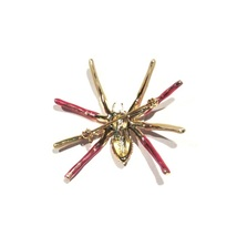 Spider Pin Brooch Pink Aqua Crystal Gold Tone Metal Autumn Fall Halloween image 2