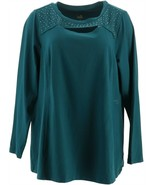 Belle Kim Gravel Embellished Top Cut Outs Deep Teal 1X NEW A292973 - $34.63