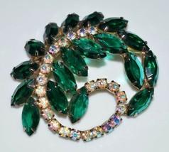 Vtg Juliana D&E Gold Tone Green Ab Crystal Rhinestone Navette Pin Brooch - $123.75