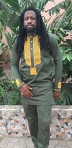 Odeneho Wear Polished Cotton Top &Bottom/Gold  Embroidery.African Clothing. - $129.99