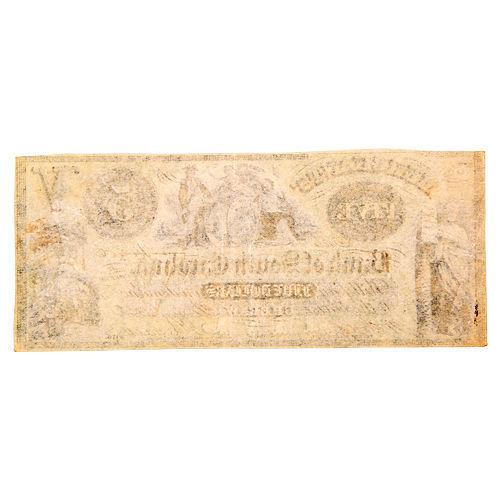 1858 Merchants Bank of South Carolina 5 Dollar Note Cheraw