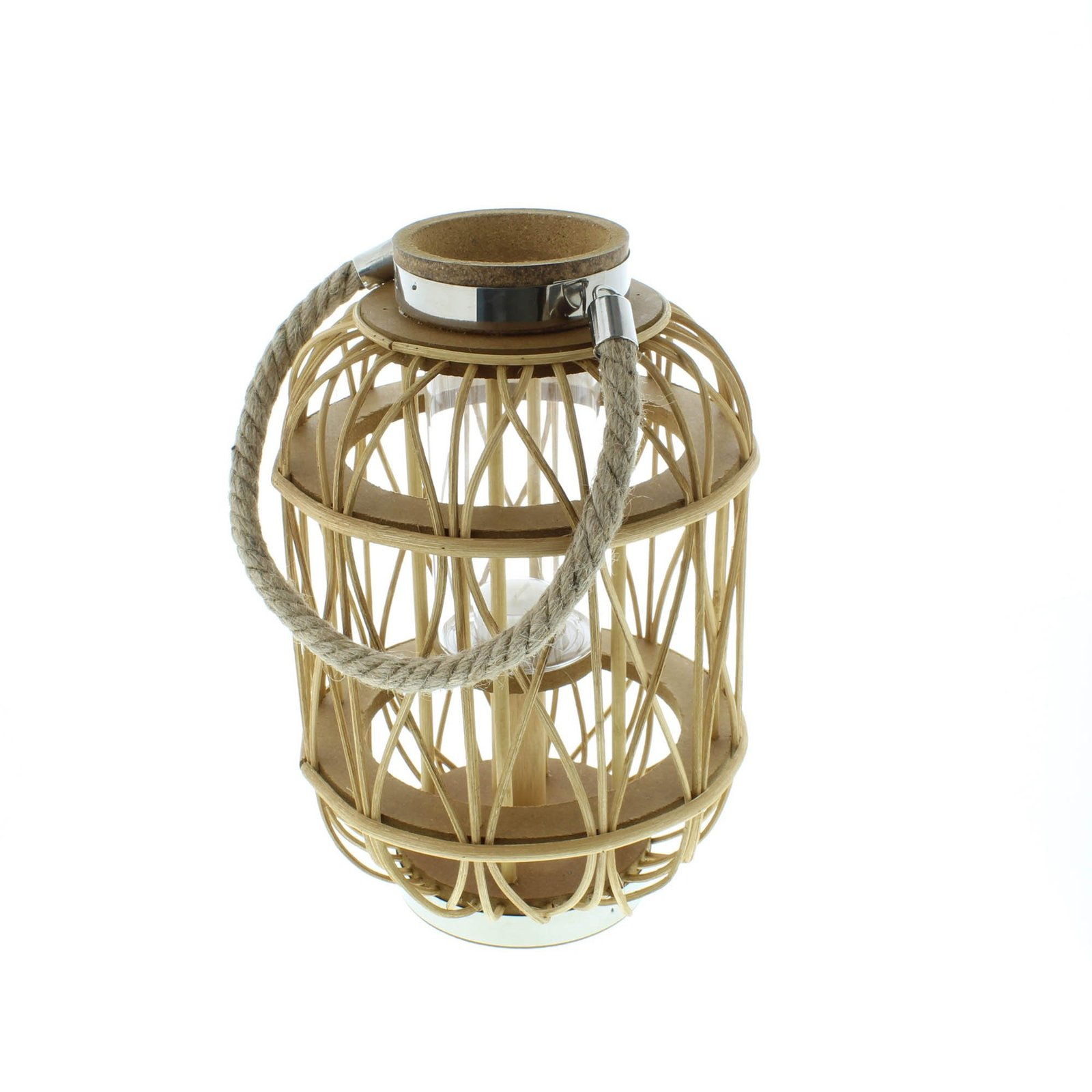 Lantern Candle Holders, Patio Outdoor Woven Rattan Rustic Wooden Candle Lantern