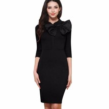 Vintage Bow Solid Color Fitted Bodycon Wear To Work Office Dress