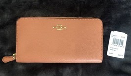 NWT Coach F16612  Pebble Leather Accordion Zip Wallet In Sunrise Color - $77.39