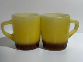 Lot of 2 Vintage Anchor Hocking Fire King Yellow Brown Mugs Ribbed Stackable - $16.35