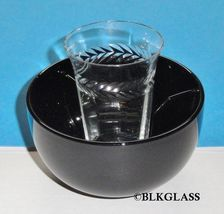 Fostoria Ebony Black Glass Ice Dish,  Clear 5 oz. Optic Glass  2 piece E... - $29.57