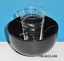 Fostoria Ebony Black Glass Ice Dish,  Clear 5 oz. Optic Glass  2 piece E... - $29.57