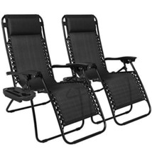 Chairs loungers Garden Beach Yard Black Set Outdoor Courtyard Pillow San... - $134.23