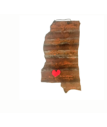 Galvanized State of Mississippi with a Red Magnet Heart - $46.53