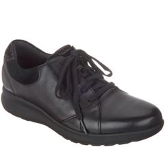 Clarks UnStructured Leather Lace-Up Women's Sneakers - Un.Adorn Lace Black 7 M - $98.99