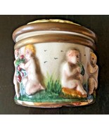 "Marked Antique Porcelain Hinged Trinket Box With Cherubs ""Sala-Italy 1757"" - $187.00"