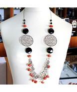 Collar Plata 925 , Ágata Disco Facetada, Coral, Medallón, 80 CM - $303.88