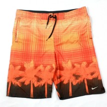 Nike Men's Swim Shorts Orange Mesh Lined Boardshorts Tropical Swimming T... - $23.33