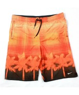 Nike Men's Swim Shorts Orange Mesh Lined Boardshorts Tropical Swimming T... - $14.00