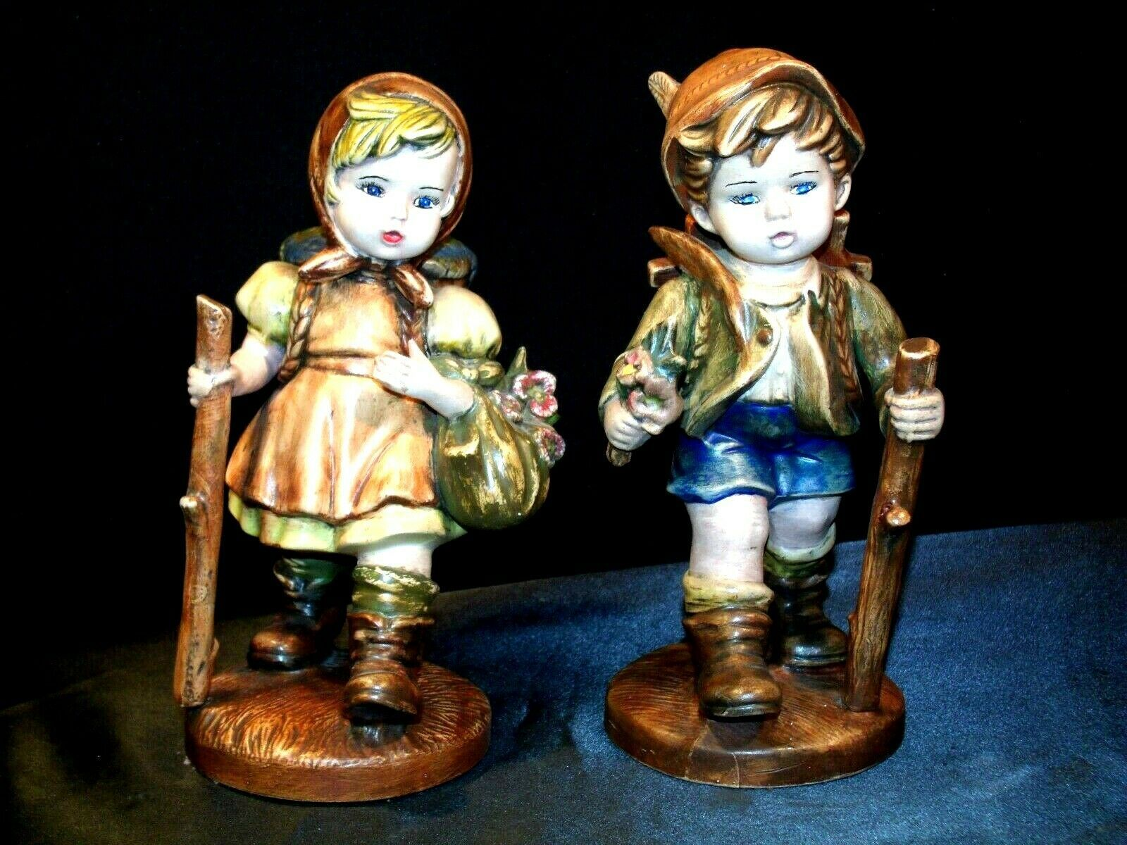 Swiss Boy and Girl Figurines Hiking AA18-1194 Vintage Collectible