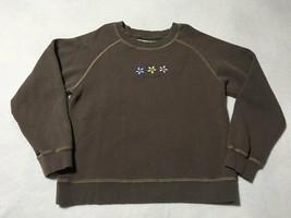 Life Is Good Girls M 10 12 Brown Three Daisy Flower Sweatshirt Pink Yell... - $8.99