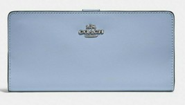 COACH NWOT Smooth Leather Skinny Wallet 58586 Bifold Gunmetal Lite Blue SRP $150 - $58.41