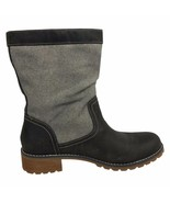 Timberland Womans Wenham Mid Pull on Leather and Canvas Dark Gray Boots ... - $104.40