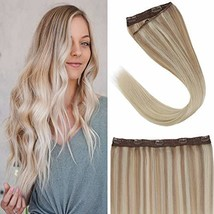VeSunny Blonde Hair Extensions Clip in Human Hair Extensions One Piece Color Ash