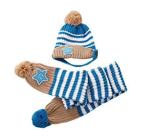 Unique Winter Baby Hat/Cap & Scarf Useful Cute Acrylic Baby Hat Set Blue